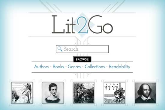 Screen capture of the Lit2Go homepage.